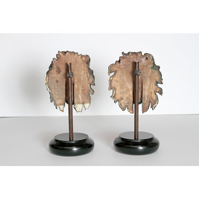 Early 19th Century Pair of Carved Wood Lion Heads For Sale - Image 9 of 13