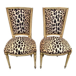 Vintage Hollywood Regency Louie IV Gesso and Gold Leaf Leopard Side Chairs - a Pair For Sale