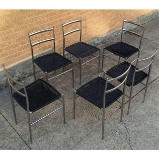 "1960s Vintage Giò Ponti Style Chrome ""Superleggera"" Dining Chairs- Set of 6 Preview"