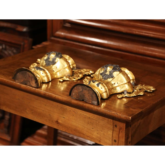 Mid 18th Century Pair of 18th Century Italian Carved Oak and Gilt Brass Altar Ornament Vessels For Sale - Image 5 of 7