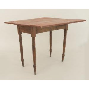 Americana American Country Rustic style (19th Cent) rectangular antique red painted pine drop leaf dining table For Sale - Image 3 of 3
