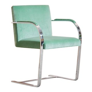 Ludwig Mies Van Der Rohe Brno Flat Bar Chair in Teal For Sale