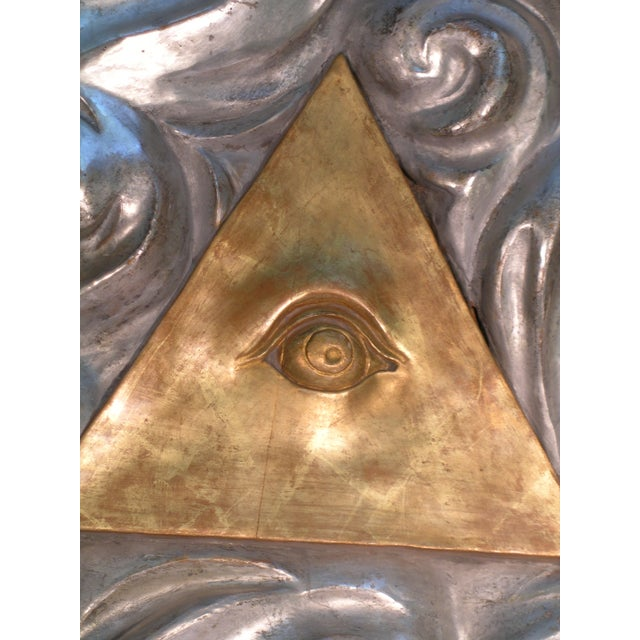 Italian 18th Century Antique Masonic Eye of Good Sculptural Wall Piece For Sale - Image 3 of 6