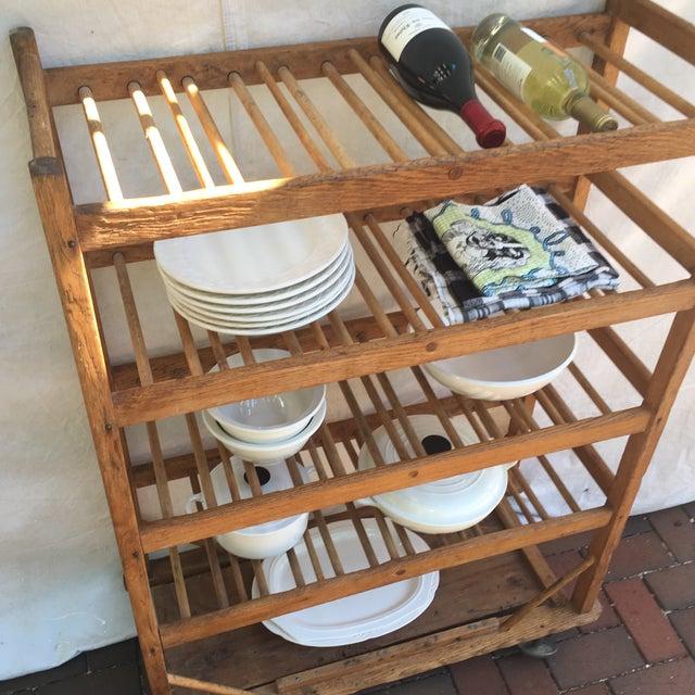 Vintage Industrial Wooden Bakers Rack For Sale - Image 10 of 10