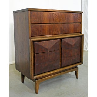 Mid-Century Modern United Diamond Front Walnut Tall Chest Dresser Preview
