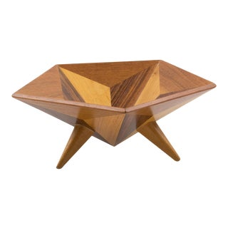 1960s Space Age Danish Wood Bowl Centerpiece Catchall For Sale