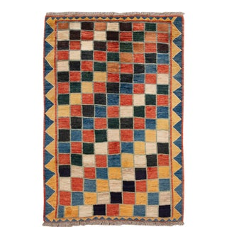 Modern Gabbeh Colorful Persian Handmade Wool Rug For Sale