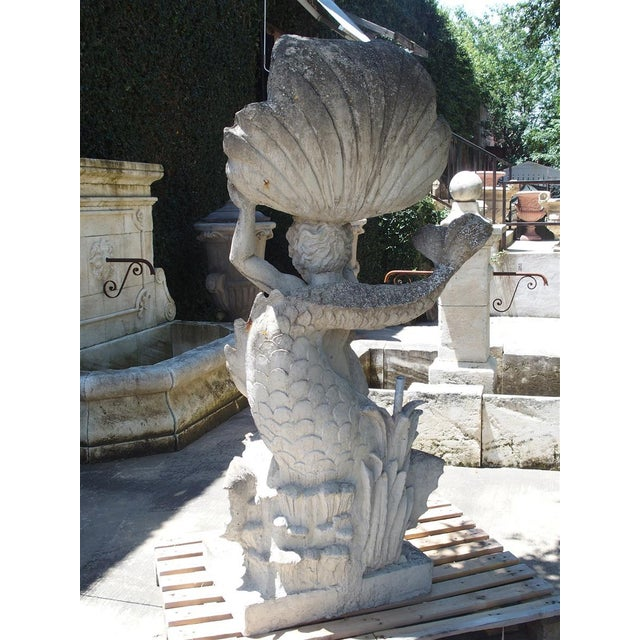 Stone Cast Stone Putto and Dolphin Fountain Element Statue, France For Sale - Image 7 of 13