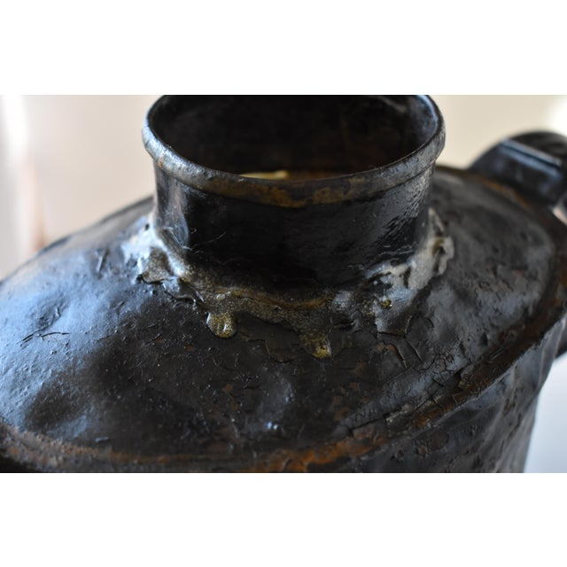 Black Antique 1830s Americana Painted Gold and Silver Tole Watering Pot For Sale - Image 8 of 12