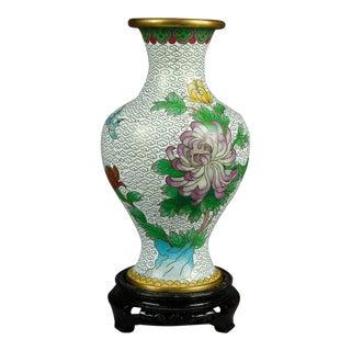 1930s Vintage Chinese Cloisonne Floral Garden Enameled Brass Vase For Sale