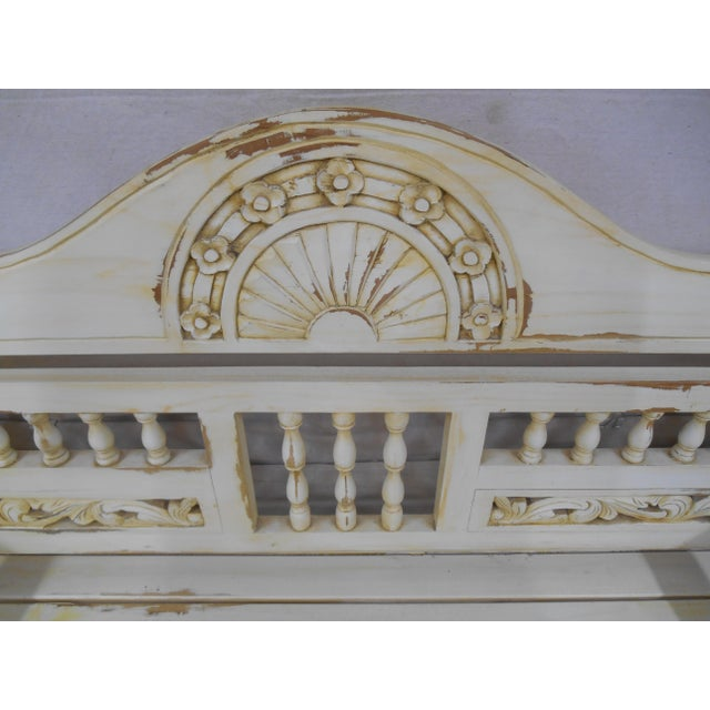 Wood Late 20th Century Painted and Distressed French Country Garden Bench For Sale - Image 7 of 13