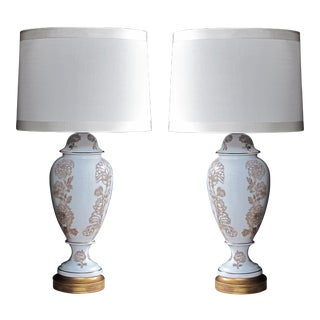 An elegant pair of American Frederick Cooper 1960's blanc de chine baluster-form lamps with raised floral decoration