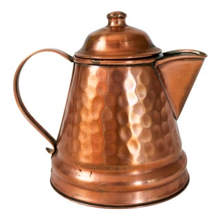 Small Vintage Hammered Copper Kettle For Sale