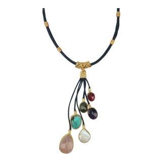Sterling Vermeil & Semi Precious Stone Drop Necklace For Sale