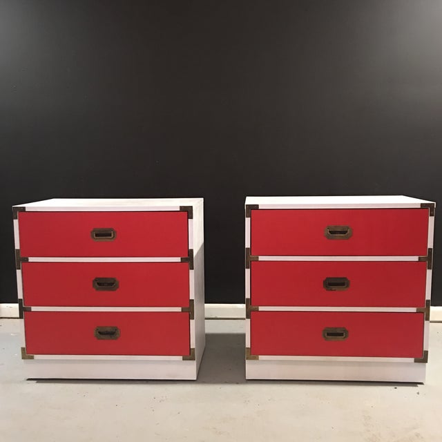 Vintage White & Orange Campaign Dressers - A Pair - Image 5 of 9