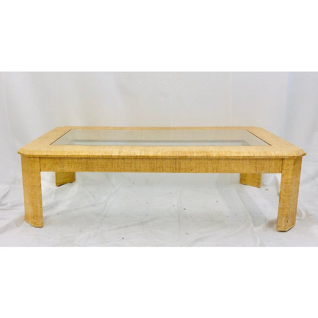 Vintage Grasscloth Wrapped Coffee Table For Sale - Image 10 of 10