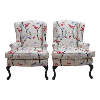 Floral Upholstery Wingback Chairs - a Pair For Sale