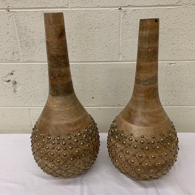 Moroccan Styles Wood & Brass Vases Jugs - a Pair For Sale - Image 4 of 13