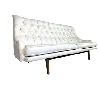 Mid Century Danish Modern Tufted High Back Sofa 1960's For Sale