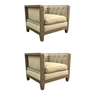 Organic Modern Small Wood Trim Beige Linen Club Chairs Pair For Sale