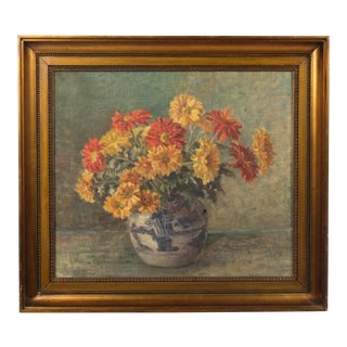 1931 Yellow and Red Flowers Still Life For Sale