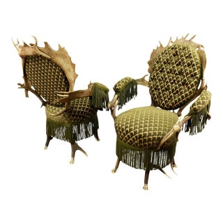 1880s Antler Parlor Armchairs- A Pair For Sale