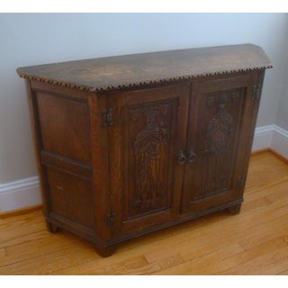 Carved Relief English Oak Sideboard Cabinet With Medieval King by Ethan Allen Preview