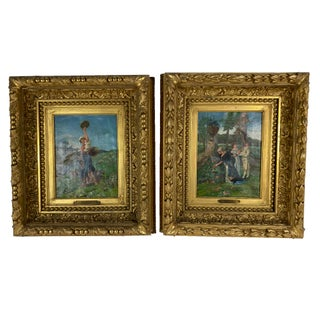 Framed Oil Paintings by Italian Artist Indoni - a Pair For Sale
