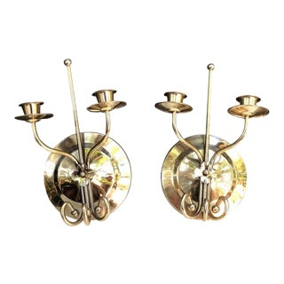 1970s Brass Flower Double-Candle Wall Sconces - a Pair For Sale