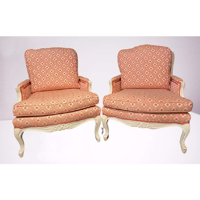 Louis XVI Painted Bergère or Lounge Chairs, Scalamandre Upholstery - a Pair For Sale In New York - Image 6 of 13