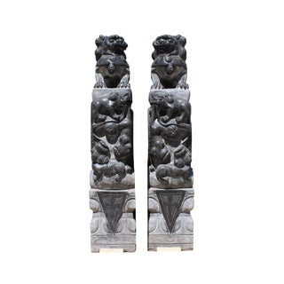 Chinese Pair Gray Stone Fengshui Foo Dogs Lions Door Block Statue For Sale
