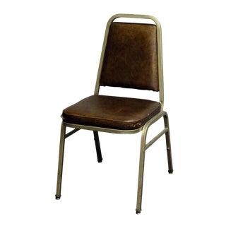 Salvaged Metal Vinyl Auditorium Office Chair For Sale