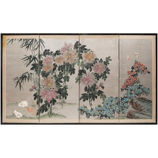 1920s Chinese Chicks and Chrysanthemums Screen For Sale