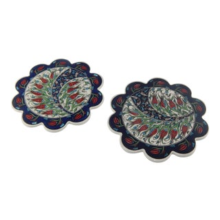 Turkish Handmade Iznik Floral Pattern Ceramic Coaster Set of 2 For Sale