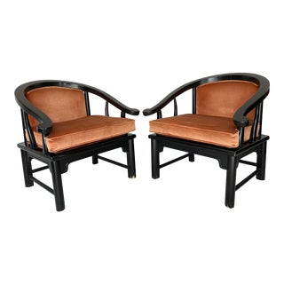 Vintage Chinoiserie Horseshoe Chairs- a Pair For Sale