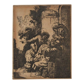 """Joseph's Coat Brought to Jacob"" After Rembrandt Etching in Reverse 18th to 19th C. For Sale"