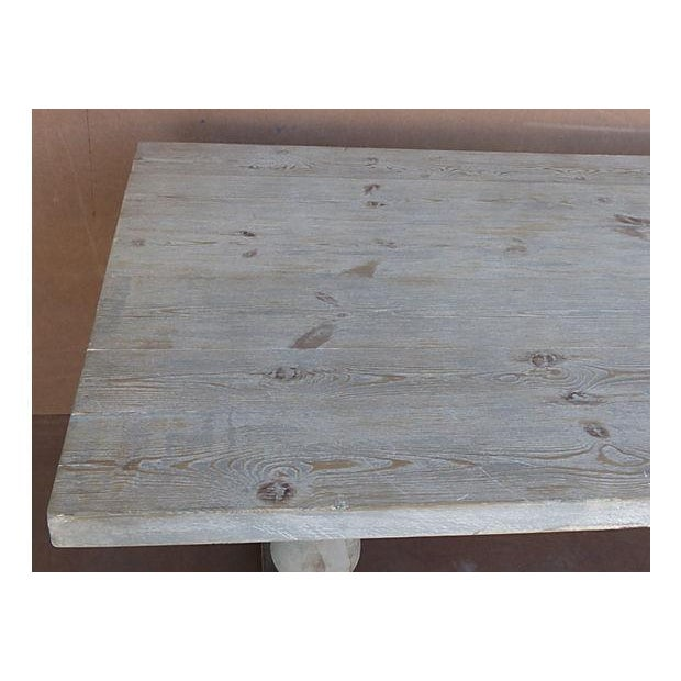 Neoclassical Library Table with Whitewash Finish - Image 6 of 10