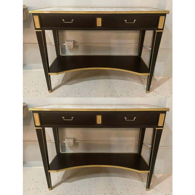 Late 20th Century Pair of Hollywood Regency Neoclassical Ebony Console Tables Manner Jansen For Sale - Image 5 of 13
