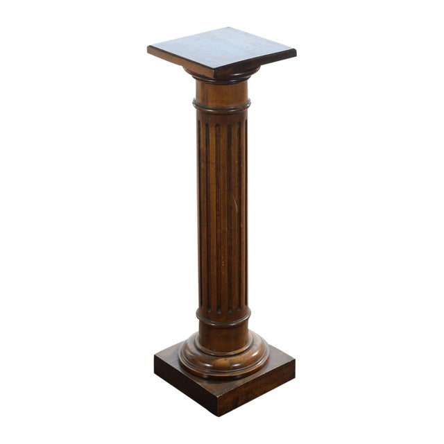 Antique Carved Colonial Walnut Pillar Pedestal - Image 1 of 10