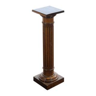 Antique Colonial Carved Walnut Pillar Pedestal For Sale