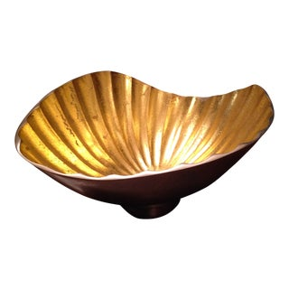 Goldleaf and Silver Seashell Bowl For Sale