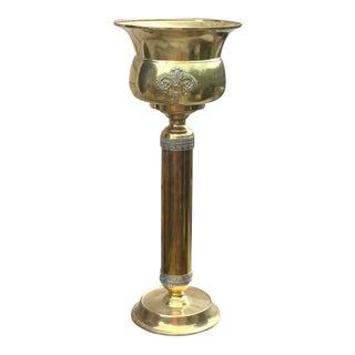 1970s Mid-Century Modern Solid Brass Pedestal and Urn