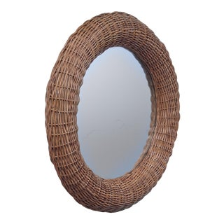 Bonacina round ratan mirror, Italy For Sale