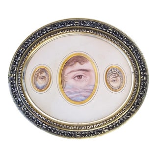 Vintage Portrait Painting Victorian Lovers Eye Pin For Sale