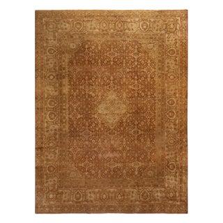 Antique Amritsar Beige Brown Floral Wool Rug For Sale