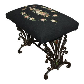 Early 20th Century Antique Wrought and Cast Iron Needlepoint Bench Foot Stool For Sale