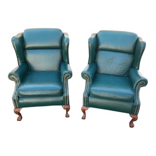 American Made Chippendale Style Emerald Green Leather Wing Chairs With Ball and Claw Feet - a Pair For Sale