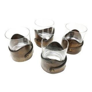 Vintage Drinking Glasses With Leather Holder - Set of 4