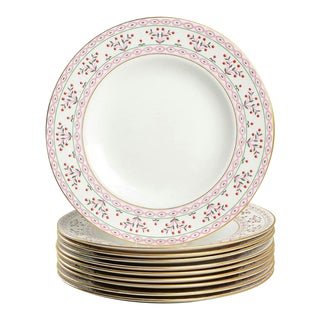 Royal Crown Derby Brittany Pink Dinner Plate Set of 10 For Sale