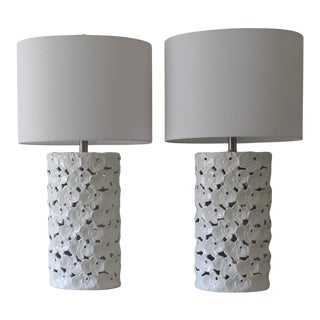 Ceramic Floral Cutout Table Lamps - A Pair